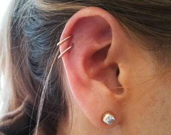 Super snug 22 gauge cartilage piercing solid rose gold sterling silver nose ring hoop Nose Stud Helix Ring Earlobe Earring silver nose ring