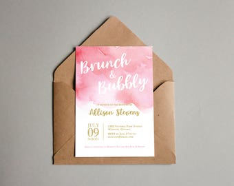 Brunch & Bubbly bridal shower watercolour invitation (customized/digital)