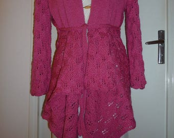 Perforated mesh knit panels jacket hand-made Fuschia-