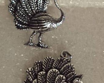 Silver metal charm, Peacock ± 50x24mm