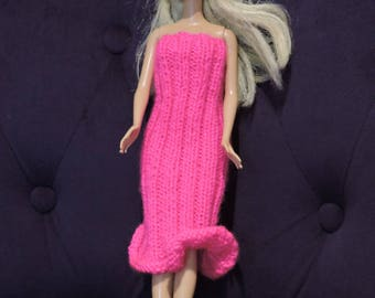 Straight strapless dress for Barbie, knitted by hands