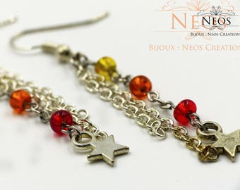 Dangling earrings and seed beads, red model