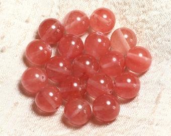 Wire 39cm 31pc env - stone beads - cherry Quartz balls 12 mm