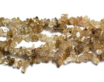 about - stone beads - Golden rutilated Quartz rock Chips 5-10mm - 4558550035851 130pc