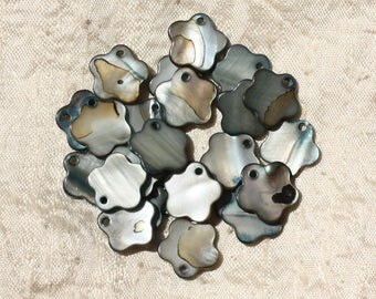 10pc - pearls mother of Pearl flower 15mm grey black 4558550002600 charms