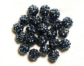 5pc - sorts 12x10mm black resin beads and blue 4558550009395