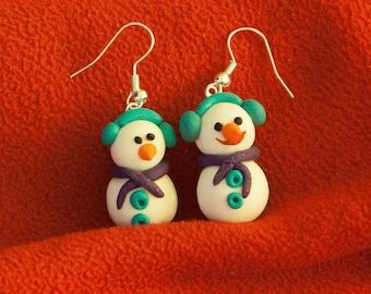 snowman polymer clay earring