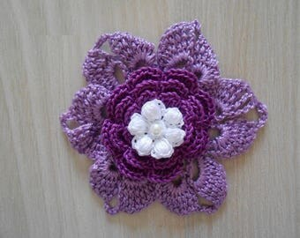 Violete cotton crocheted flower