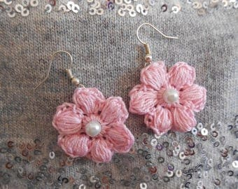 Crochet Pink Flower Earrings