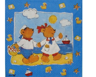 Set of 3 paper towels OUR009 bears on the beach