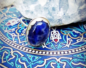 Sterling Silver and Sodalite Twist Band Ring