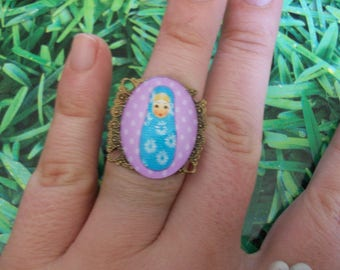 ring cabochon nesting doll