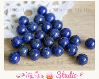 10 beads natural lapis lazuli 8mm beads gemstone, mineral, unique, blue AAA quality