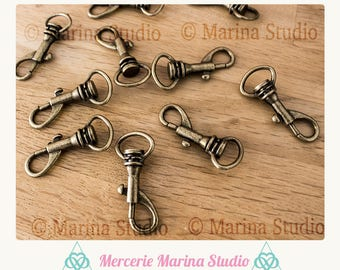 5 large bronze lobster clasps for key ms75436