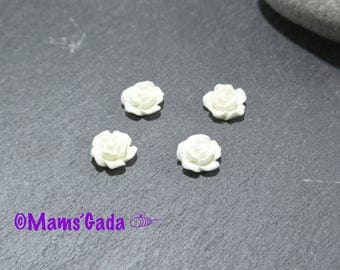 Set of 8 flower Cabochon resin color white REF:8 10x5mm / 14