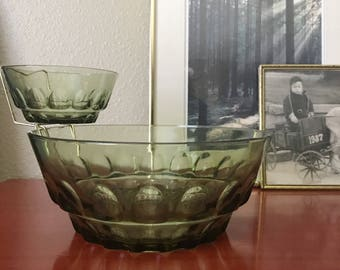 Olive Green Glass Thumbprint Chip and Dip Vintage Mid-Century