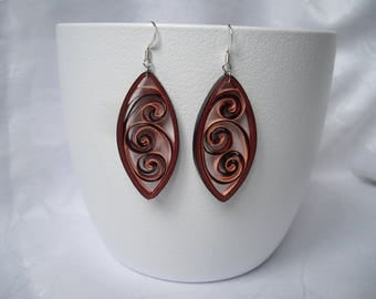 Paper earrings, arabesque, quilling