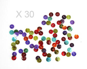 30 buttons in Pearl 10 mm assorted colors