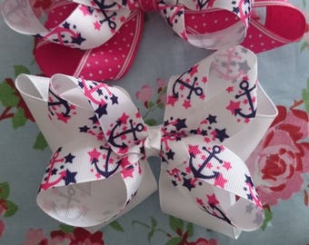 Sailor anchor hair bow