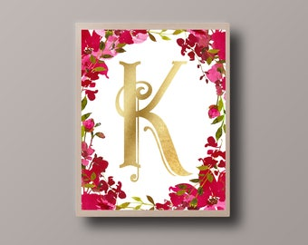 Custom Monogram, Custom Gold Foil, Personalized Quote, Custom Printable, Custom Quote Print, Bohemian Print, Hipster Print, Teen Room Decor