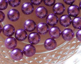 set of 10 half purple cabochon beads