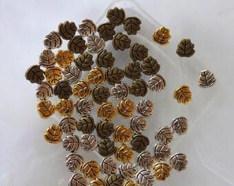 set of 6 beads leaf shaped metal 3 colors