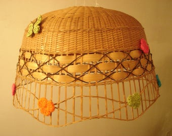 decorated with flowers in natural color Wicker Lampshade
