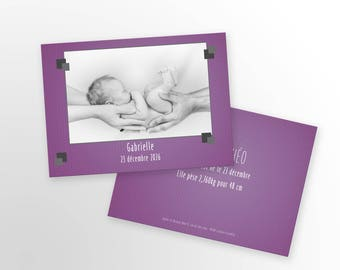 Girl birth announcement - to personalize - model Gabrielle