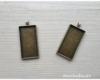 2 medium rectangular pendant bronze 48 x 24