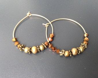 créoles perles bronze et perles à facettes de bohème cuivrée