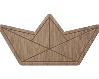 BOAT - ORIGAMI - laser cut wood - brooch