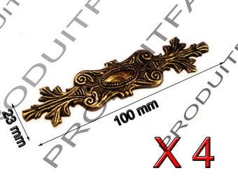 Trim Metal Antique Decoration for chest box box jewelry has 4 nail 100 * 23 mm