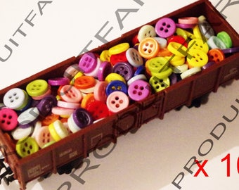 100 button resin 9 mm 4 hole blue red green blue Ros Etc sewing