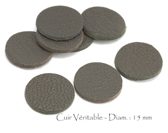 6 round genuine leather - Diam. 15 mm - goat leather - charcoal grey color set