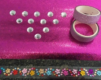 Rhinestones, tape and paper scrapbooking Kit