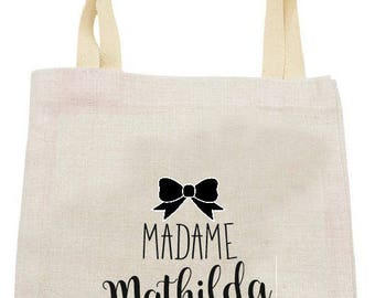 "PERSONALIZED TOTE BAG IN LINEN ""MADAME"""