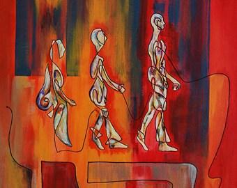 2 morpho-logic, acrylic painting, figurative painting, canvas frame
