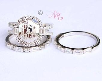 Monogram Ring, Engraved Ring, Cubic Zirconia Monogram Ring, Initial Ring, Silver Monogram Ring