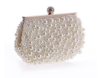 White Pearl Beaded Bridal, Wedding, Formal Party, Evening Clutch Bag