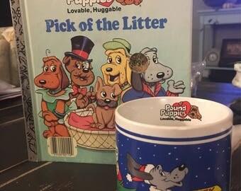 Pound Puppies mug 1987 and Little Golden Book 1986