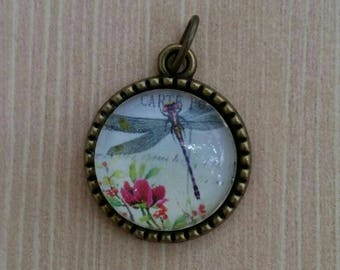 Delicate Dragonfly Flower Pendant