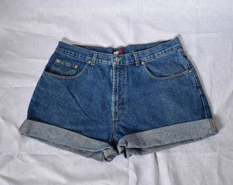"Tommy Hilfiger Vintage Cuffed Denim Shorts Waist 36"""