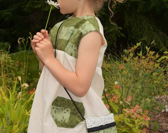 Children's dress beige and green sleeveless (with matching purse)