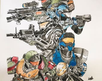 Halo Reach Noble Team Print