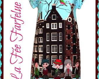 "Dress ""AMSTERDAM"" cotton Poplin from 34 to 50"