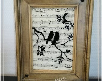 Wooden bird & music frame
