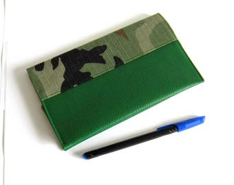 Green door-checkbook, faux leather, camouflage, textile recycled, vegan, mixed, protects checkbook, military checkbook human nature
