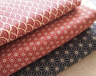 Japanese cotton fabric: Red seigaiha wave and beige 110 * 50 cm
