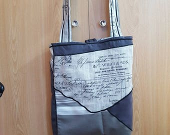 tote bag is shades of gray