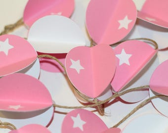Circles in 3D, pink and white Garland, paper Garland